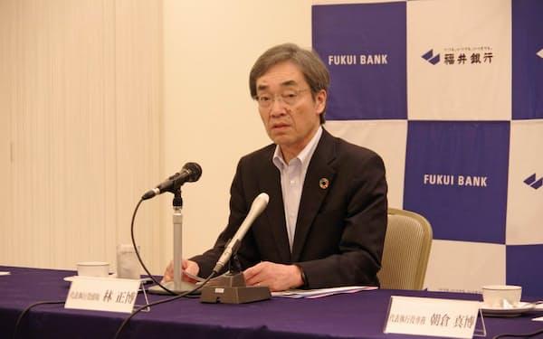 19年3月期の決算を発表する福井銀行の林正博頭取