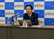 富山銀行の斉藤頭取は米中貿易摩擦に伴う景気の先行きに懸念を示した(富山県高岡市)