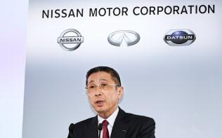 決算発表する日産自動車の西川広人社長兼CEO(14日、横浜市西区)