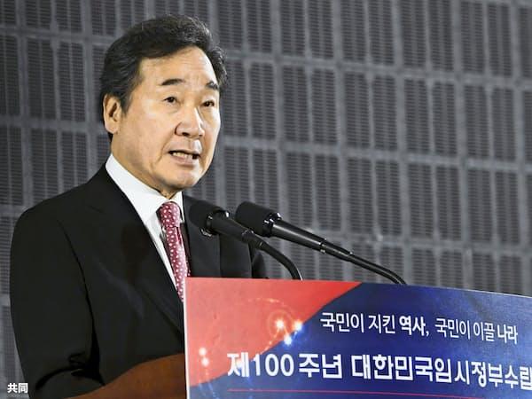 韓国の李洛淵首相(4月、ソウル)=共同