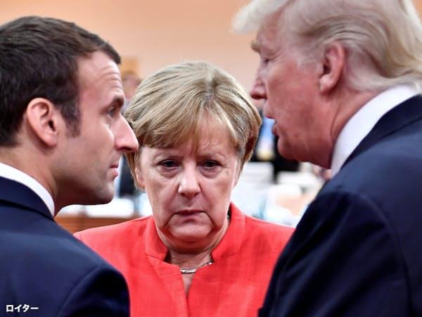 トランプ米大統領(右)にメルケル独首相もマクロン仏大統領(左)も翻弄されている(写真は2017年のG20首脳会議=ロイター)