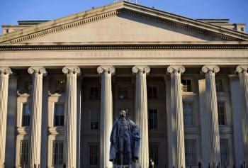 米財務省によると、中国の3月の米国債保有額は2年ぶりの少なさになった(ワシントンの米財務省)=AP