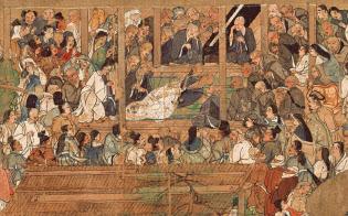 国宝「一遍聖絵」=巻12、部分、鎌倉時代、清浄光寺(遊行寺)蔵