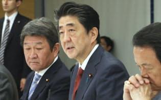 未来投資会議であいさつする安倍首相(5月15日、首相官邸)