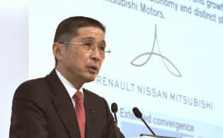 決算発表する日産自動車の西川広人社長(5月14日、横浜市西区)