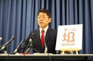 堺市長選への出馬を表明した野村友昭・自民党堺市議(17日午後、堺市役所)
