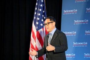 トヨタの豊田章男社長は3月の講演で米国への貢献をアピールしていた(米首都のワシントン)
