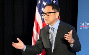 トヨタの豊田章男社長は3月の講演で米国への貢献、取引先などへの「感謝」を繰り返した(ワシントン)