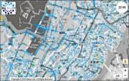 豪雨発生を仮定したときの東京駅周辺の浸水状況を地図に示した(早稲田大学提供)