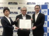 協定を結んだ南紀白浜エアポートの岡田信一郎社長(左)ら(20日、和歌山市)