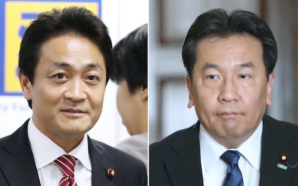 立憲民主党の枝野代表(右)と国民民主党の玉木代表