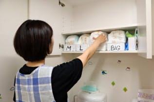 保育所に複数サイズを保管し、子供にあったおむつを提供する(大阪市)
