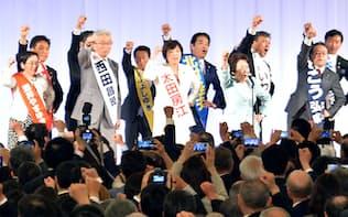 自民党細田派のパーティーで気勢を上げる参院選の立候補予定者(21日、東京都港区)