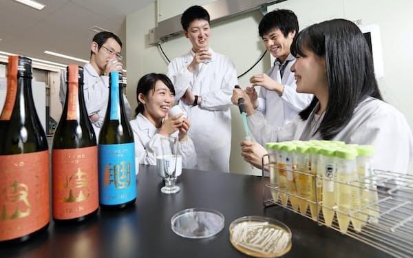 独自の酵母から日本酒を造った岐阜大学大学院の学生ら(岐阜市)