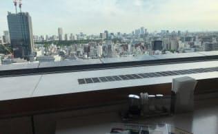食堂からは東京の街並みが一望できる