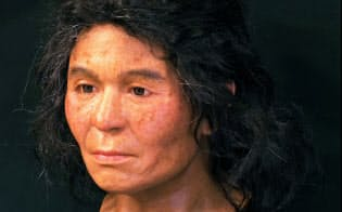 船泊遺跡で出土した縄文人女性の顔の復元(国立科学博物館提供)