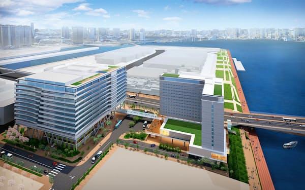 清水建設は不動産開発を強化する(都内で受注した案件の完成イメージ)
