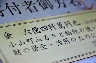 ふるさと納税の寄付金を財源に整備した公園の寄付者銘板(静岡県小山町)