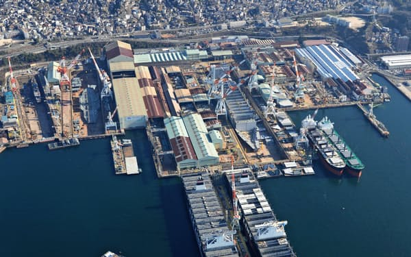 造船の事業環境は厳しい(JMUの呉事業所)