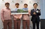 メルシャンは長野県上田市に国内3カ所目のワイナリーを開業すると発表した(写真右が長林社長)