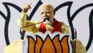 「強い首相」をアピールして支持を盛り返したモディ首相(16日、インド・西ベンガル州)=三村幸作撮影