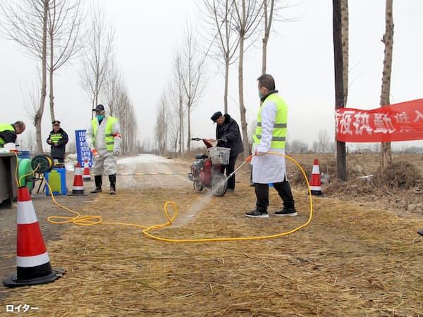 アフリカ豚コレラで中国の飼料需要は減退した(2月、河北省)=ロイター