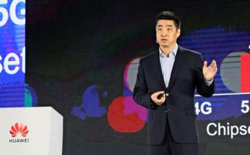 ファーウェイの胡厚崑(ケン・フー)副会長兼輪番会長は、米中対立のエスカレートを示唆(写真は4月の中国での講演)