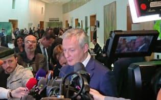 ルメール仏経済・財務相は日仏連合の関係強化を求めた(22日、パリ)