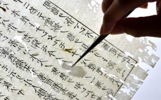 ばらしたページに透過光を当て、虫食い部分を一片の和紙で繕う=小幡真帆撮影
