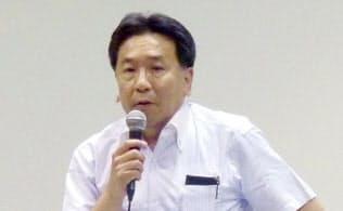 講演する立憲民主党の枝野代表(5月25日、さいたま市)=共同