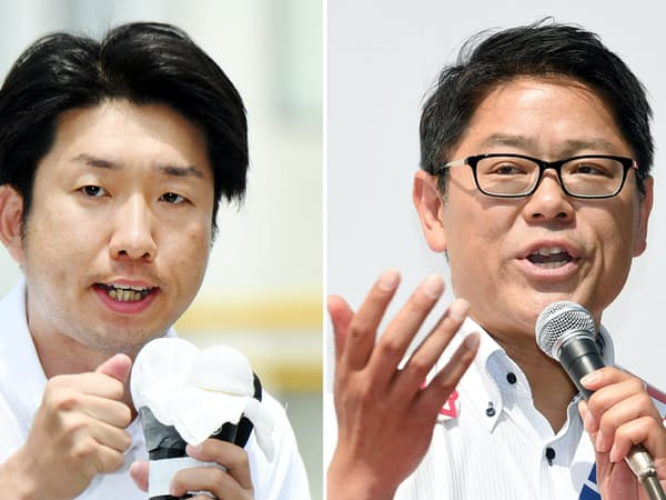 有権者に支持を訴える永藤英機氏(写真左)と野村友昭氏(26日、堺市)