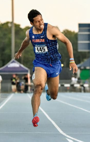 男子200メートル2次予選で20秒13をマークしたサニブラウン・ハキーム(25日、ジャクソンビル)=共同