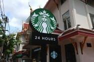 タイで約370店舗を展開するスターバックスコーヒー(27日、バンコク)