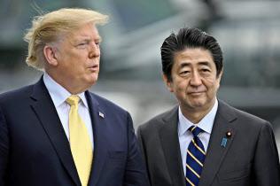 海上自衛隊の護衛艦「かが」に乗船した安倍晋三首相(右)とトランプ米大統領(28日、神奈川県横須賀市)=ロイター