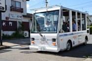 EVバスを運行して自動運行の実現に向けてデータを集める(29日、仙台市)