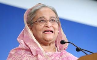 「アジアの未来」で基調講演するバングラデシュのハシナ首相(30日午前、東京都千代田区)