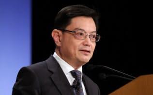 「アジアの未来」で講演するシンガポールのヘン・スイキャット副首相兼財務相(30日、東京都千代田区)