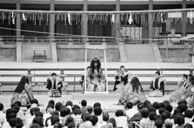 平安神宮が舞台の能「平安」を43年ぶりに上演する(1976年の上演時)=京都能楽会提供