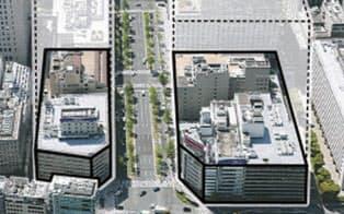 御堂筋を挟み建設する(北から見たイメージ)