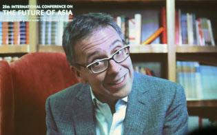 「アジアの未来」にビデオメッセージを寄せたユーラシア・グループのイアン・ブレマー社長(31日、東京都千代田区)