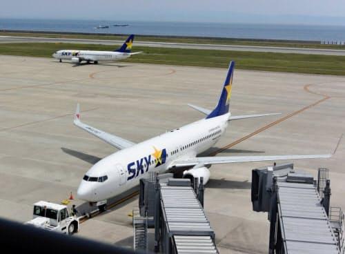 スカイマークは神戸空港の発着便の7割を占め、西の拠点空港に位置づける(神戸空港)