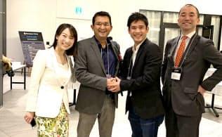 ビヨンドネクストベンチャーズの伊藤毅社長(中央(右))とC―CAMPのタスリマリフ・サイード最高経営責任者(中央(左))