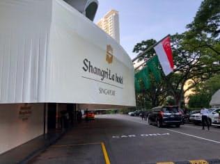 アジア安全保障会議の会場となる「シャングリラ・ホテル」(5月31日、シンガポール)