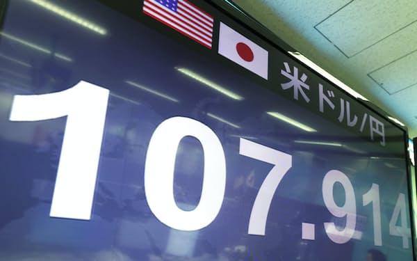 1ドル=107円台で推移する外為市場(4日午前、東京都港区の外為どっとコム)