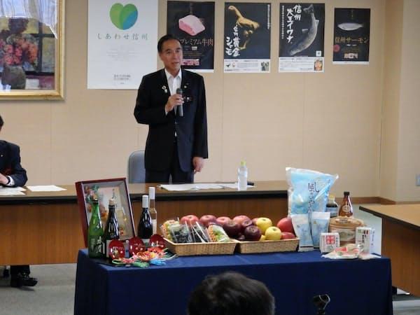 営業本部会議であいさつする阿部知事(4日、長野県庁)