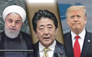 (コラージュ、イラン・ロウハニ大統領と米トランプ大統領の写真はAP)
