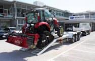 2~3トン級の小型トラックでけん引できる(岡山市で)