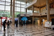 G20貿易・デジタル経済相会合の会場となるつくば国際会議場では開幕に向けて準備が進められていた(7日、茨城県つくば市)