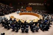 国連の安全保障理事会の会合(1月、ニューヨーク)=ロイター