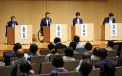 「スポーツフォーラム2019」でパネル討論する(左から)古宮、三宅、五十嵐、桂田の各氏(9日、新潟市中央区)